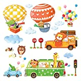 Decowall DA-18062P14063 Sticker mural décoratif pour chambre d'enfant Motif animaux de camion/animaux...