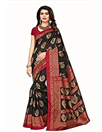 Floral Trendz Women's Bhagalpuri Silk Printed Saree With Blouse Piece.(Bhagalpuri 723_Black_Free Size)