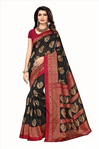 Floral Trendz Women's Bhagalpuri Silk Printed Saree With Blouse Piece.(Bhagalpuri 723_Black_Free Size)