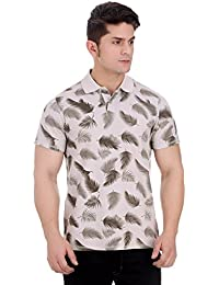 Girggit Overdyed Silver Grey Cotton Polo T-Shirt With All Over Leaf Print And Enzyme Wash