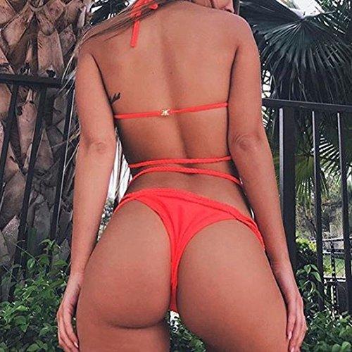 Ai.Moichien Bikini Für Damen, Neckholder, Mit Hologramm, Strandmode, Top Qualität, EU Orange