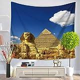JokerDmask Tapiz Tapestry Poliéster Wall Hanging Bedsheet Decoración Sala Habitación Toallas De Playa Mantel Edificio Majestuoso De La Pirámide De Khufu, 150 cm * 180 cm