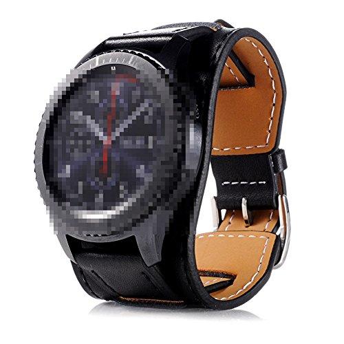 22mm Uhrenarmband Herren Damen Uhrband Ersatzuhr Lederarmband Ersatz-Armbanduhr Uhren Zubehör Watch Band Schwarz
