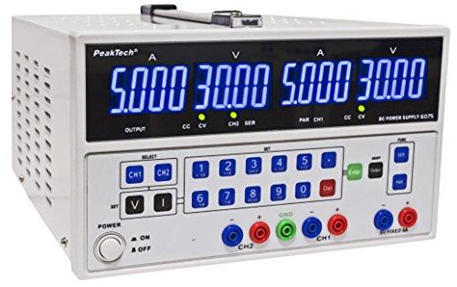 PeakTech Linear-Geregeltes DC Doppel- Labornetzgerät 2 x 0 - 30V / 0 - 5A Regelbar und 5 V/3 A Festspannung ; Bedienung per Tastenfeld, 1 Stück, P 6075