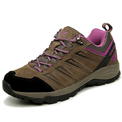 Xiang Guan Damen Low-Top Wildleder Wasserdicht Atmungsaktiv Schuhe Outdoor Sport Camping Trekking Wanderhalbschuhe Braun