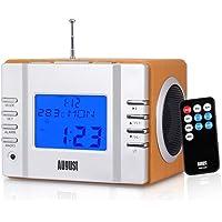 Radiowecker - August MB300 - Radio mit Akku - UKW, USB, SD/MMC, Line-In, Wecker, LCD Display (silber-braun)