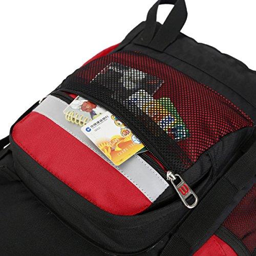 Borsa Yy.f50L Spalla Zaino Grande Capacità Sacchetti Esterni Di Alpinismo Di Viaggio Borse Scuola Equitazione Escursione Borsa Del Computer. Multicolore Red