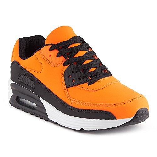 FiveSix Herren Damen Sportschuhe Dämpfung Sneaker Laufschuhe Orange/Schwarz-M EU 44
