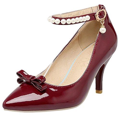 Oasap Women's Pointed Toe Beading Buckle Stiletto Heels Pumps Burgundy