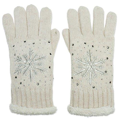 CASPAR GLV009 warm gefütterte Damen Strick Handschuhe mit gesticktem Eiskristall und dezentem Strass, Farbe:hell beige;Größe:One Size