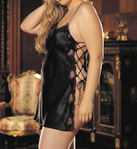 Chemise de nuit sexy avec bordure en dentelle rouge cerise Noir - Noir