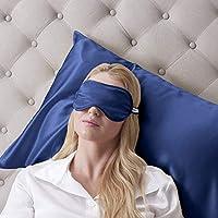 Schlafmaske für Erwachsene, 100% reine Seide, gefüllt, Marineblau preisvergleich bei billige-tabletten.eu