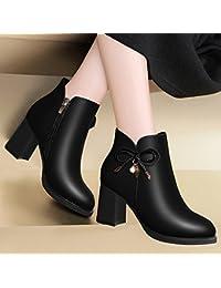 AJUNR-Zapatos De Mujer De Moda El Nuevo Invierno Pajarita Zapatos De Mujer La Versión Coreana De La Cremallera...