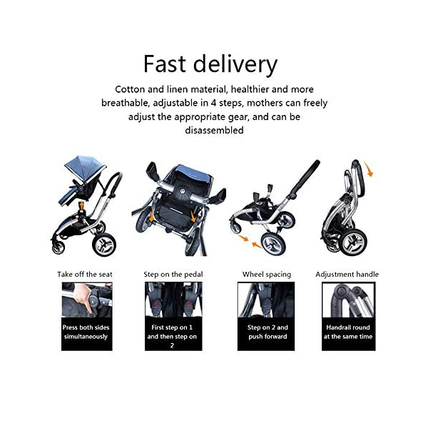 HJJGRASS Baby Stroller Lightweight Folding Pushchair Pram Buggy Stroller Buggy,Gray HJJGRASS The seat is 38cm wide and can be called a mobile crib. Easy folding - This pushchair is as simple to fold away as possible - with one hand only within a matter of seconds; this way it will fit any car boot and you will always have one free hand Long use - This stroller is usable for a long period of time; it is suitable from birth and Car load: greater than 15G 4