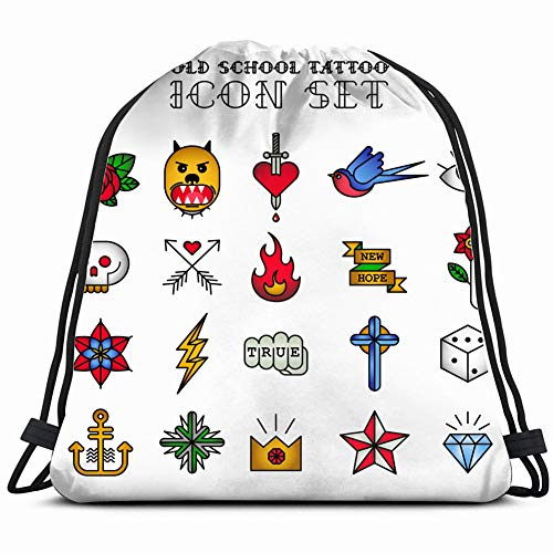 Tattoo icon Set Signs Symbols Vintage Drawstring Backpack Gym Sack Lightweight Bag Water Resistant Gym Backpack for Women&Men for Sports,Travelling,Hiking,Camping,Shopping Yoga ()