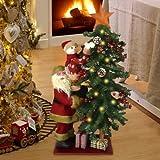 Bakaji Albero Di Natale Luminoso 15 LED Giallo Con Babbo Natale e Pupazzo Di Neve Altezza 80cm Decorazioni Natalizie