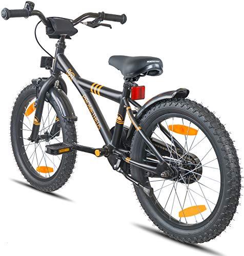 Prometheus Bicicletta per bambini e bambine dai 6 anni nei colori Nero Opaco e Arancione da 18 pollici con freno a V in alluminio e contropedale – BMX da 18″ modello 2019 - 6