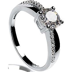 Lars Benz LUXUS Damen-Ring Verlobungsring Silber 925 Swarovski Zirkonia 1,4 Karat 54-mm