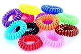 10 Telefonkabel Haargummis, elastisch, Kinderhaargummi, Haarschmuck, Spiralgummi, viele Farben (Gemischt)