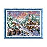 Decdeal Kit de Punto de Cruz Snowscape Pattern,con Tela de Lona 14ct Preimpresa y Costura de Bordado de Hilo de Algodón,Decoración de Pared para el Hogar, 21.3 x 17 Pulgadas
