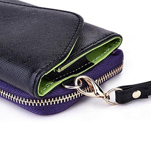 Kroo d'embrayage portefeuille avec dragonne et sangle bandoulière pour Nokia 105(2015)/215Dual SIM smartphone Multicolore - Green and Pink Multicolore - Black and Purple