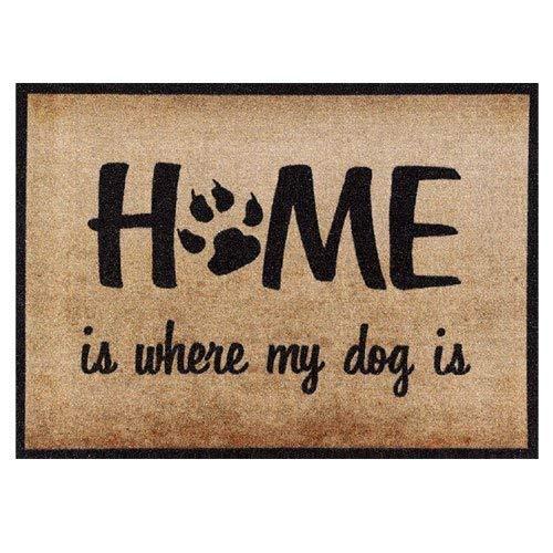 Fußmatte Mein Hund 50x70 cm groß, Waschbar für Außen Innen, Lustige Schmutzfangmatte Beige Rutschfest ohne Trittrand, Teppich für Haustüre Flur Wohnzimmer, Home is where my dog is Fußabtreter Geschenk