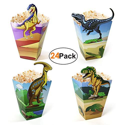 -Kindergeburtstag-Popcorntüten-Party-Snackbox 24 Stück, Süßigkeiten Popcorn Eisbecher Tüten, Candy Bar Zubehör Dino Kino Partygeschirr für Jungen Mädchen ()