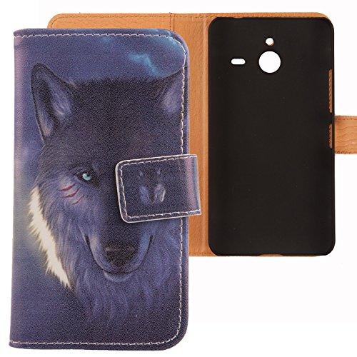 Lankashi PU Flip Leder Tasche Hülle Case Cover Schutz Handy Etui Skin Für Microsoft Lumia 640 XL Dual Sim 4G Wolf Design