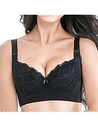 Mscoreray Sujetador Básico Bra Push Up Bordado Sexy con Aros Bustier Relleno Fino para Mujer