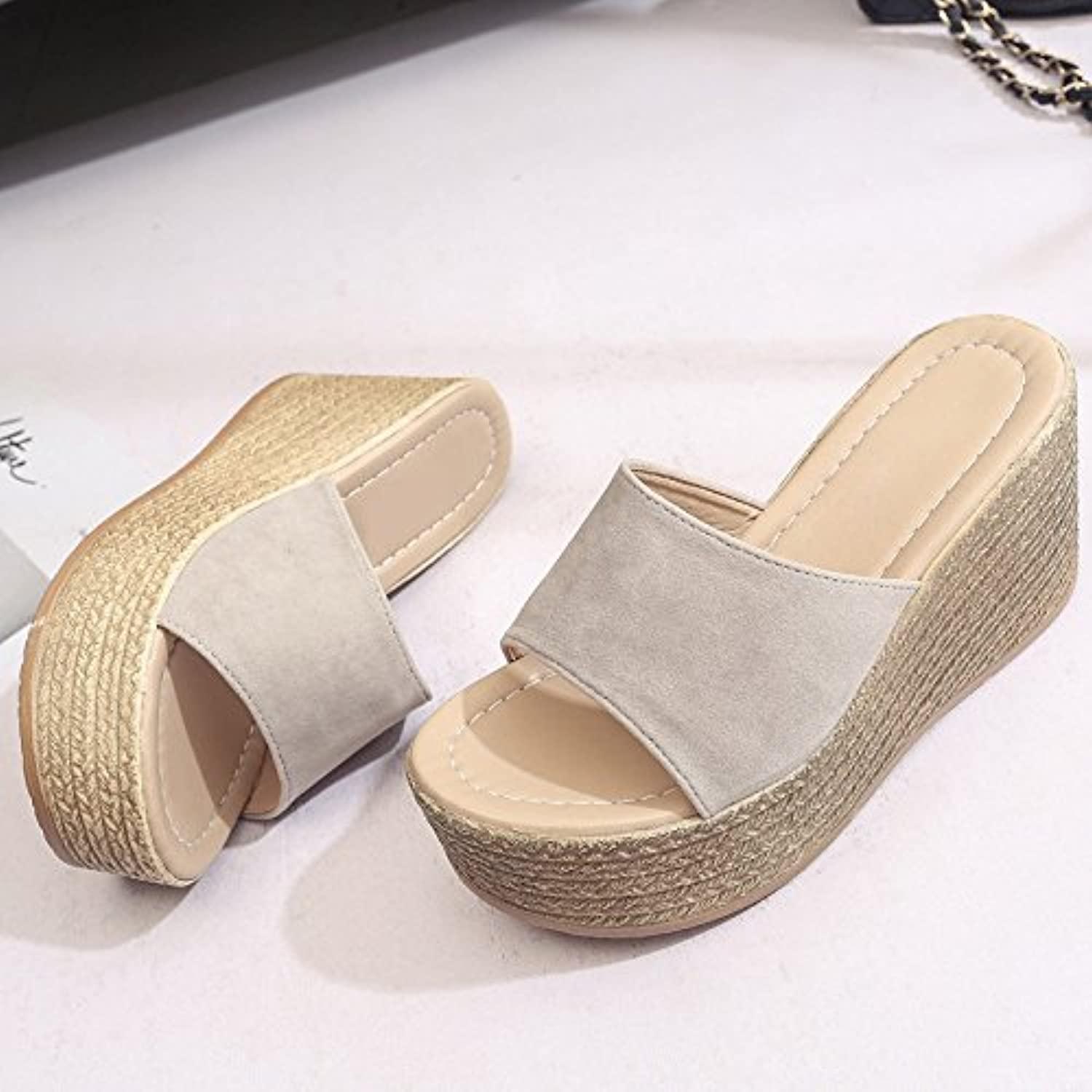 fankou Slippers Summer Female Fashion, Wearing Thick with Slope, Cold and High-Heeled,39, Light Yellow