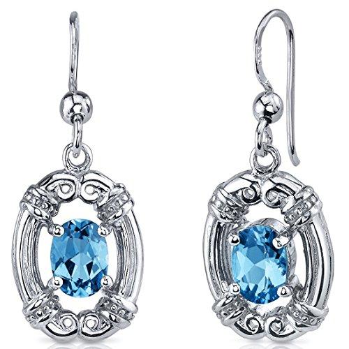 Estilo antiguo Revoni - 2,00 quilates Swiss color Azul topacio corte Oval colgantes con pendientes de diamante de la CZ de plata de ley