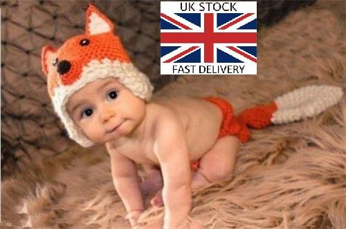 Fox, Newborn Baby Girl Boy Crochet Knit Costume Photo Photography Prop Hats Outfits ()