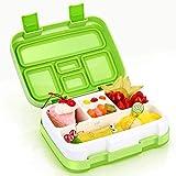 Jelife Bento Box Kids, Kinder Lunchbox, Brotdose mit 5 Unterteilungen, Kinderfreundliche Auslaufsichere Lebensmittelbehälter, Ideal für Schule, Picknicks, Reisen (Grün)