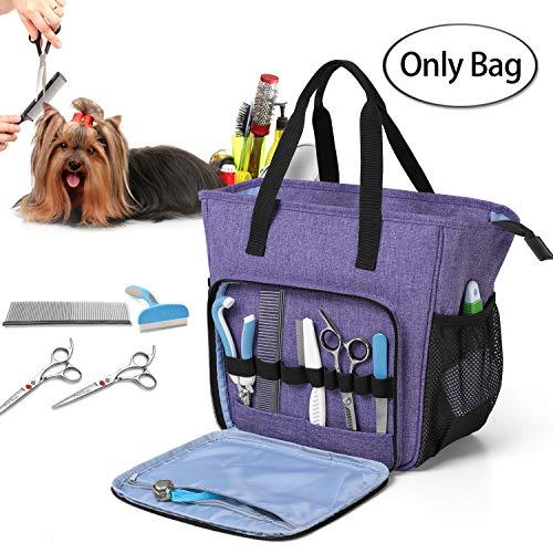 Teamoy borsa da trasporto per accessori per la toelettatura del cane, borsa per la toelettatura del cane, viola