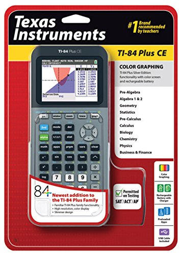 Texas Instruments TI-84 Plus CE Silver Graphing Calculator by Texas Instruments (Calculator Plus Graphing Ti84)