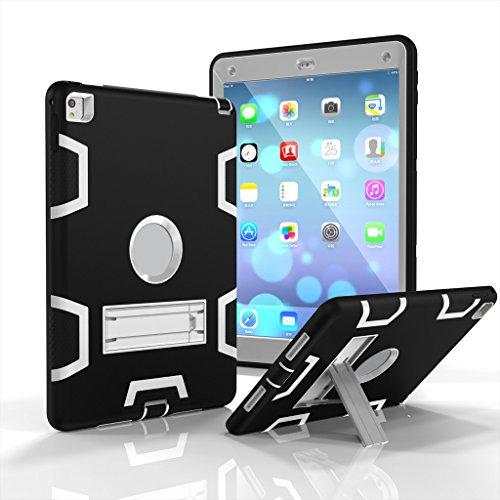 3in1stoßfest Schutzhülle für Apple iPad Pro 9,7/iPad Air 2-aohro [Hybrid] [Triple Layer] Rugged, Bumper Hard Rigid PC + Silikon Tasche Case Cover Schutz Hülle mit Ständer, grün + grau, Black + Gray, iPad Pro 9.7/Air 2 Combo Hard Case
