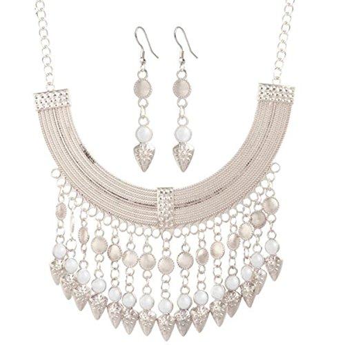 HSNZZPP Gold Und Silber Multicolor Quaste Kiefer Halskette Ohrringe Passen Zwei Sätze Von Hochzeit Schmuck,10-OneSize