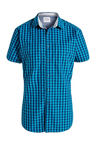 edc by Esprit Vicky Check - Chemise Casual - Homme Bleu - Bleu (Turquoise)