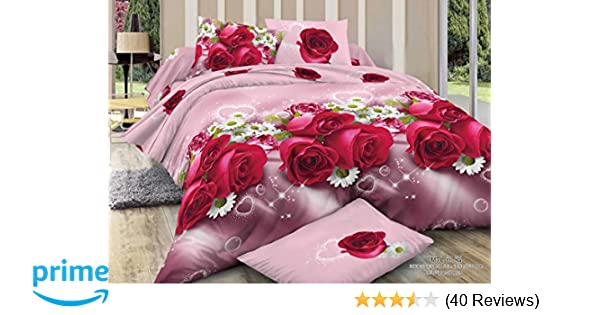 Shopcrats 3D Floral Print Double Bedsheet With 2 Pillow Covers.: Amazon.in:  Home U0026 Kitchen
