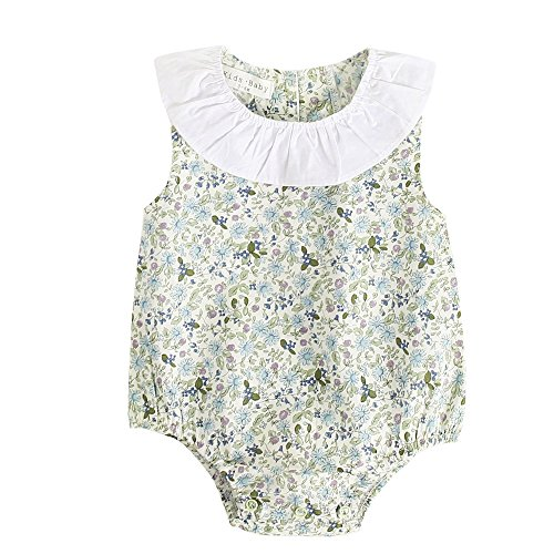 Sanlutoz Baby Mädchen Blumen Ärmellos Strampelhöschen Blume Drucken Baumwolle Neugeborenes Mädchen Bodysuit (0-6 Monate, BRS7045)