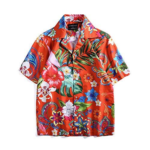 Y-clothing Das Hemd der Männer Hawaiihemd für Herren Kurzarm Blumen Print Paar Straße lässig Strand Button-Down-Shirt Gentleman lässig geschnittenes Hemd (Farbe : Photo Color, Größe : XXL) - Kunden-service-telefon-nummer