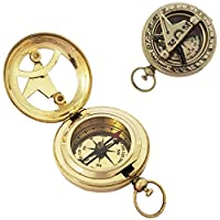 The New Antique Store Push Button Brass Pocket Compass