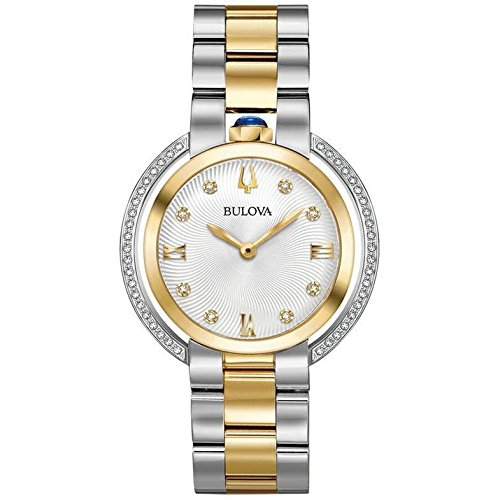 Ladies' Bulova Rubaiyat Diamond Two-Tone Yellow Gold Tone and Stainless Steel Watch 98R246