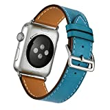 FOTOWELT for Apple Watch Band, Echtes Leder Einzel-Tour Luxus-Uhrenarmband -Bügel Ersatz für Apple Watch iWatch Modelle 42mm - Teal