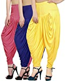 Fashion And Freedom Women's Pack of 3 Pink, Blue And Yellow Viscose Dhoti