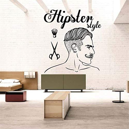 Crjzty Barber Shop Aufkleber Hipster Style Chop Brot Aufkleber Haarschnitt Rasierer Poster Vinyl Wall Art Decals Decor Windows Gelb 157x174cm