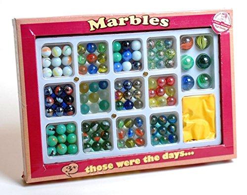 Nostalgie Retro Spiel Murmeln - 6 große und 108 kleine Murmeln Glasmurmeln