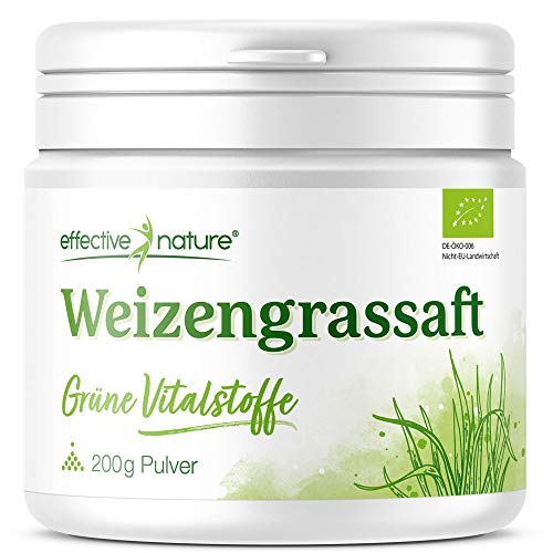 effective nature Weizengrassaft Pulver - Grüne Vitalstoffe, Bio- & Rohstoffqualität, Green Superfood, veganes Supergreen perfekt für Smoothies und Säfte, 200 g reines Pulver (Saft Pulver)