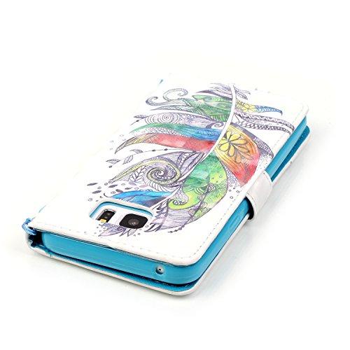 CaseHome 3D Bewirken Muster iPhone 7 4.7 Zoll PU Leather Hülle (Mit Frei Displayschutz),Folio Schutzhülle Tasche Lederoptik PU Leder Mit Wallet Kartenfach Magnetverschluss Standfunktion Handytasche Sl Bunte Feder