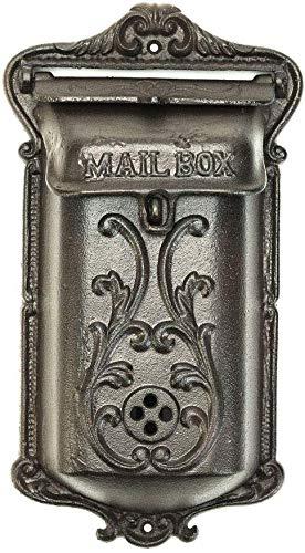 Sungmor Briefkasten aus Gusseisen, zur Wandmontage, Retro-Vintage-Stil, abschließbarer Briefkasten, Nostalgie, für Innen- und Außenbereich Zweig